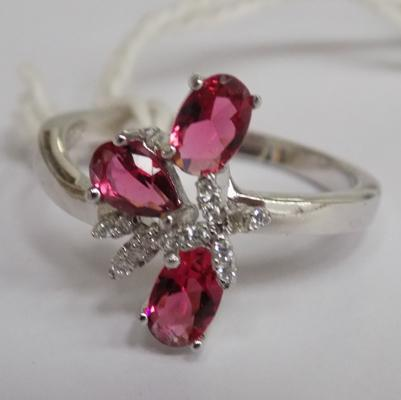 Silver, red/ pink stone ring