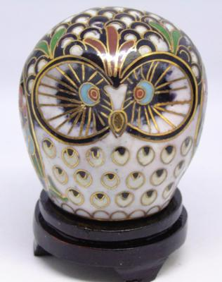 Colourful cloisonne Owl on wooden stand