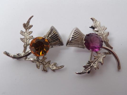 2x Silver thistle brooches