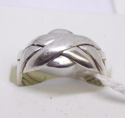 925 silver 4 band puzzle ring - Size M