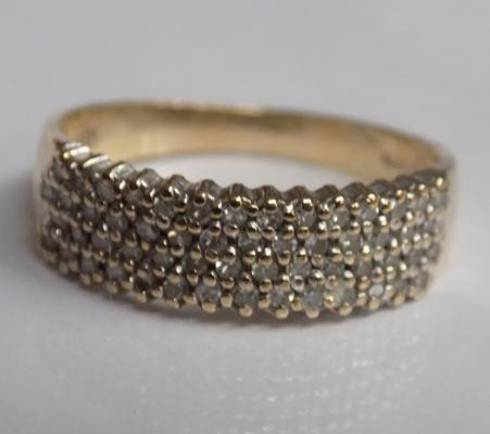 Vintage 9ct gold and 33 points diamond ring - approx. size O