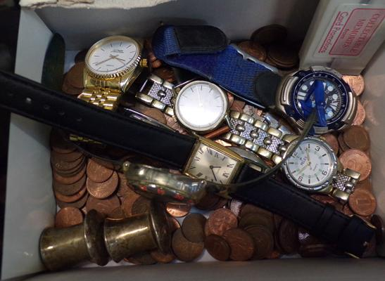 Selection of watches and coins