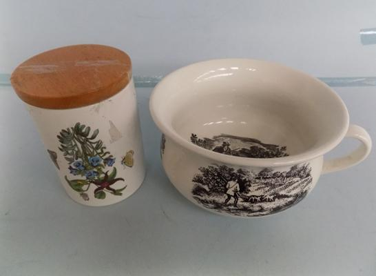 Antique childs chamber pot and Portmerion pot