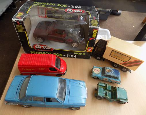 Selection of diecast cars inc Dinky, featuring Peugeot 205, Mercedes & more