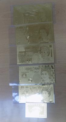 5 x 24ct plated replica bank notes with certificates