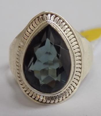 Silver and blue stone ring