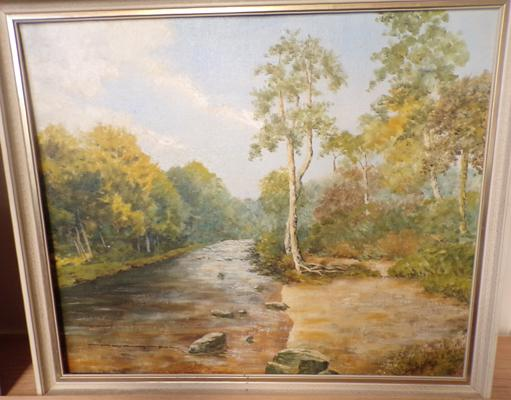 Original oil painting of a River scene, Yorkshire artist - Houghton