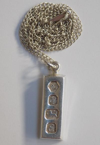 Solid silver ingot on silver chain - Sheffield circa 1979