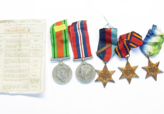 5x WWII medals with original documentation