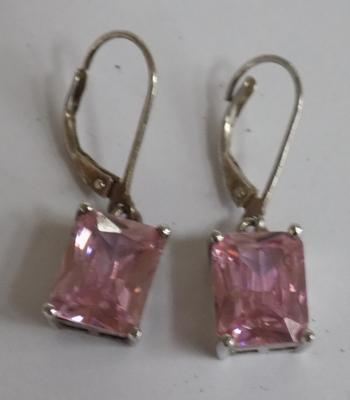 Large pink stone silver earrings