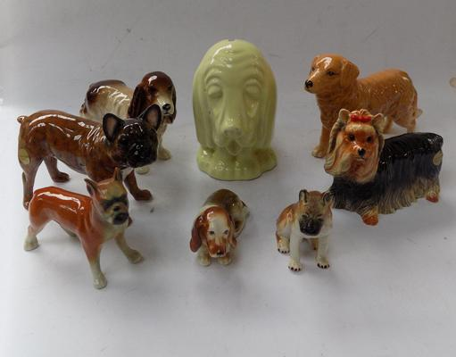 Collection of dog ornaments including Beswick