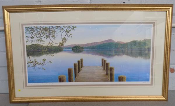 Signed framed print 'Still Evening, Coniston water' by K Melling