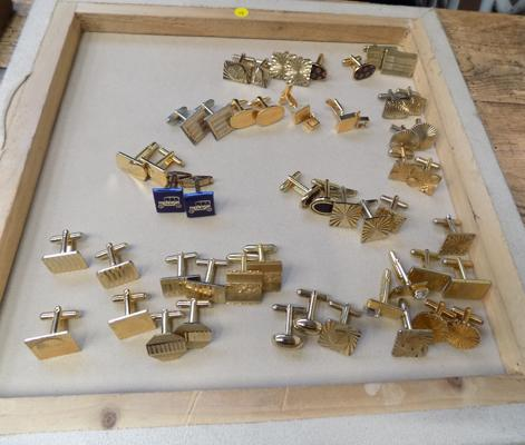 Tray of gold tone cufflinks