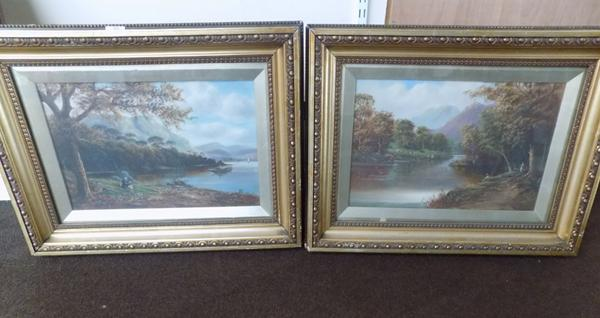 "Pair of vintage framed oils. Approx 25"" x 19"""