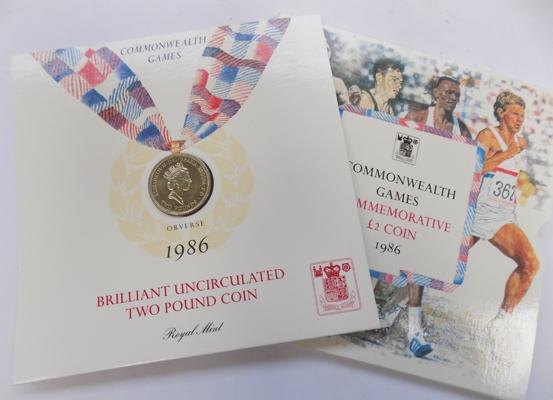 1986 Uncirculated £2 coin celebrating Commonwealth games