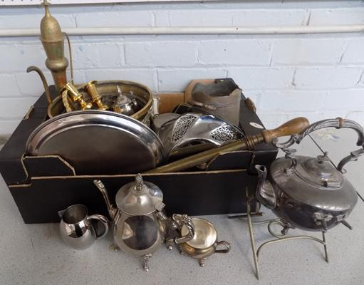 Box of antique and vintage brass and silver plate ware  - brass jardiner - antique sprit kettle etc.
