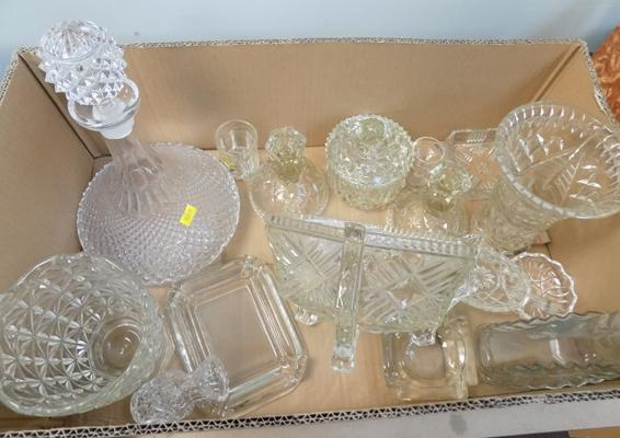 Selection of vintage glass including decanter
