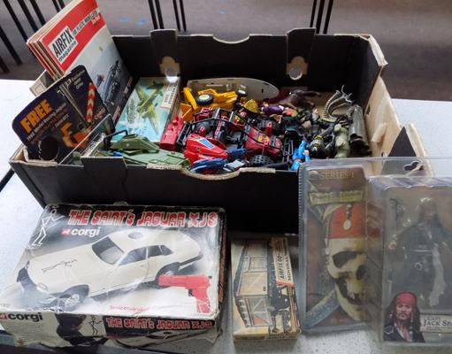 Box of vintage 1980's action force vehicles, characters, airfix-etc