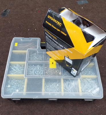 Stanley organiser with good selection of screws & portable clamp light w/o
