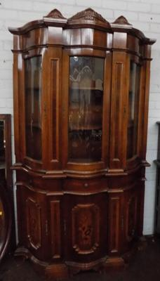 Inlaid veneered bow fronted display cabinet
