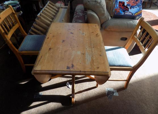 Drop leaf pine table and 2 chairs