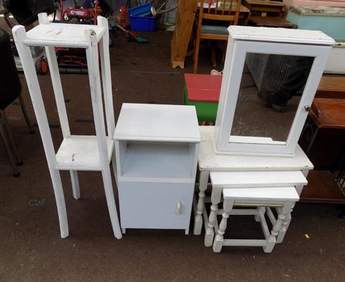 Selection of white furniture for upcycling