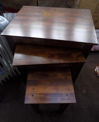 Nest of 3 solid wood tables