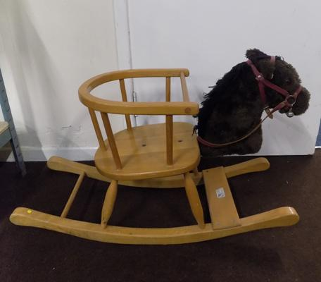 Vintage Pegasus child's rocking horse pine chair (Made in England)