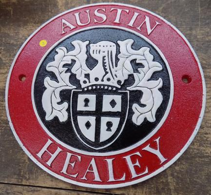 Cast iron Austin Healey sign approx 9 inches diameter