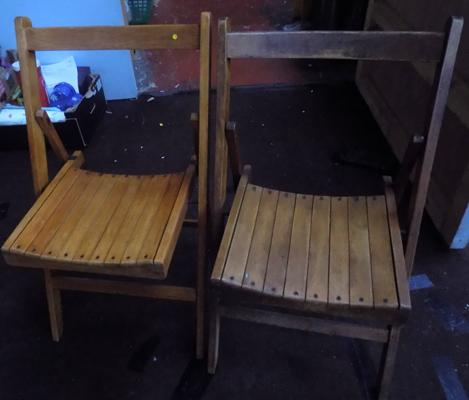2 vintage industrial folding chairs