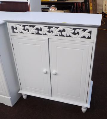 Small white double fronted cabinet