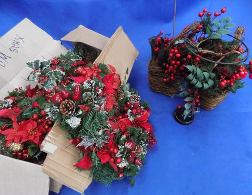 Christmas wreaths, decorated baskets & stand