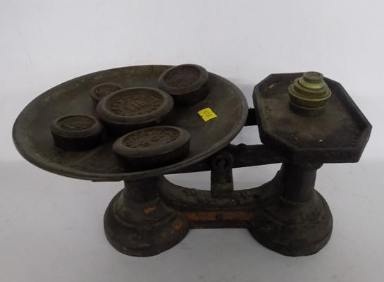 Vintage weighing scales and weights