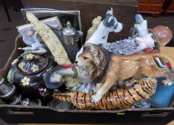 Box of mixed ceramics including Lion figure