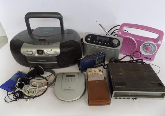 Selection of radios and portable CD player incl; vintage transistor radio and selection of headphones