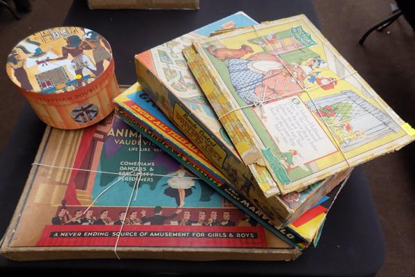 4 vintage board games and Egyptian jigsaw