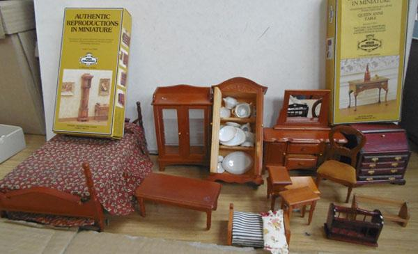 Assorted wooded doll's house furniture stained pine etc.