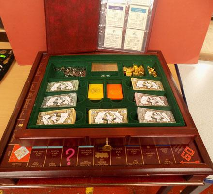Boxed wooden Monopoly set