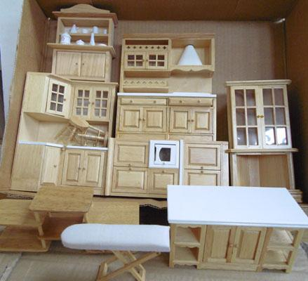 Assorted pine furniture for doll's house