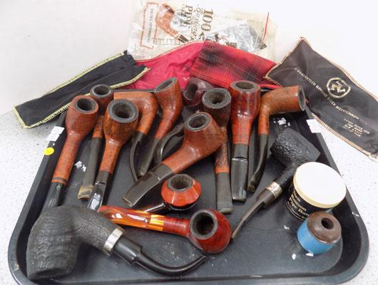 Tray of assorted pipes including Dincan Comoys