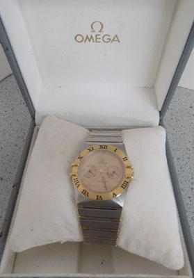 Gent's Omega constellation watch - steel & gold plate - boxed