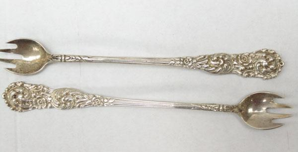 2 silver pickle spoon/forks