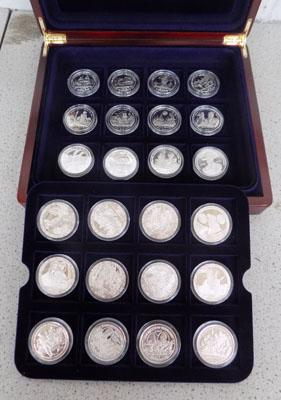 Boxed set of 24 silver proof coins - commemorative crowns/$/10$