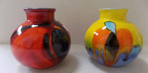 Poole pottery living glaze 2 small spill vases