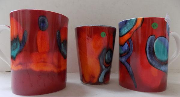 Poole pottery living glaze 2 Ltd Ed cups one with a chip and a small vase