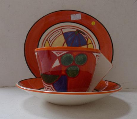 """Bizarre"" trio by Clarice Cliff (Wedgwood)"