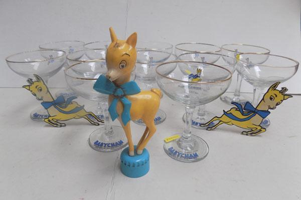 11 With Babycham glasses and 1 other along with babycham orniments