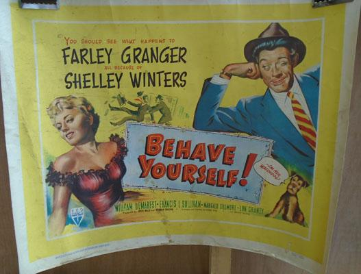 Film poster-Behave Yourself, Farley Granger & Shelly Winters