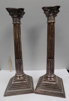 Pair of large solid silver candlesticks-Birmingham 1935