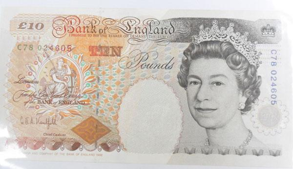 Mint condition old ten pound note